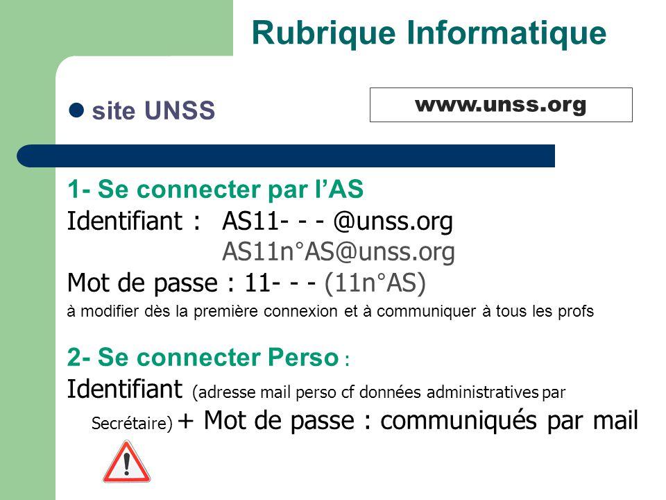 Rubrique Informatique site UNSS 1- Se connecter par l'AS Identifiant : AS11- - - @unss.org AS11n°AS@unss.org Mot de passe : 11- - - (11n°AS) à modifie