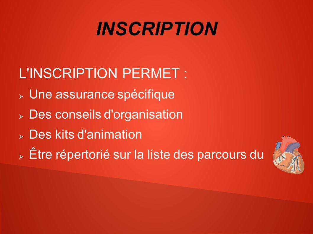 INSCRIPTION L INSCRIPTION PERMET :  Une assurance spécifique  Des conseils d organisation  Des kits d animation  Être répertorié sur la liste des parcours du