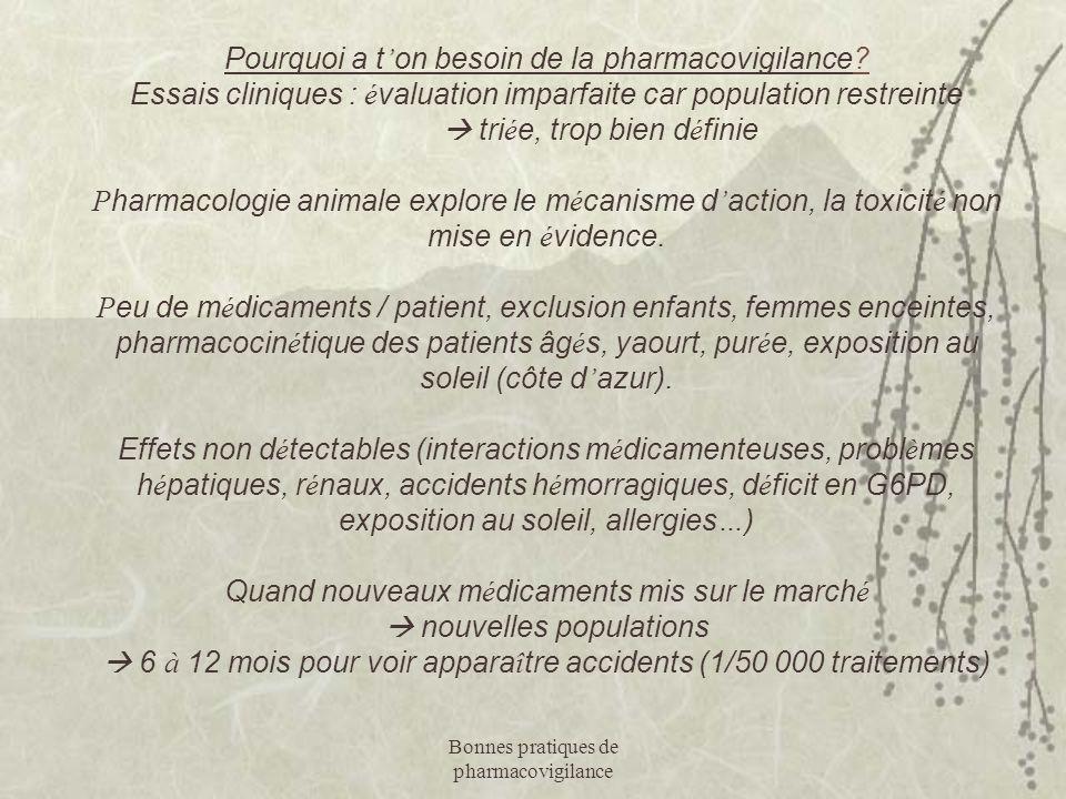 Bonnes pratiques de pharmacovigilance Pourquoi a t ' on besoin de la pharmacovigilance? Essais cliniques : é valuation imparfaite car population restr