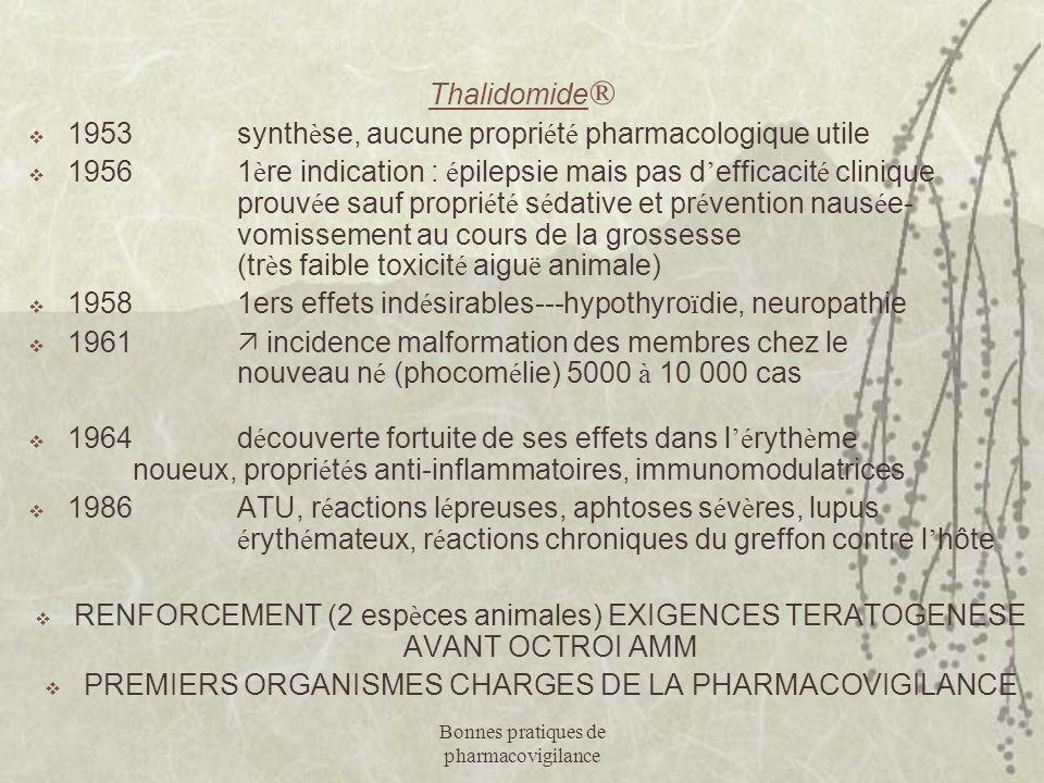 Bonnes pratiques de pharmacovigilance Thalidomide ®  1953synth è se, aucune propri é t é pharmacologique utile  19561 è re indication : é pilepsie m