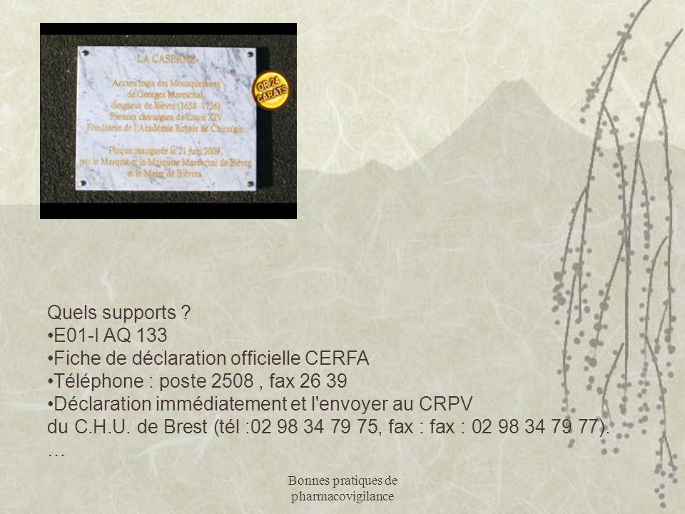 Bonnes pratiques de pharmacovigilance Quels supports ? E01-I AQ 133 Fiche de déclaration officielle CERFA Téléphone : poste 2508, fax 26 39 Déclaratio