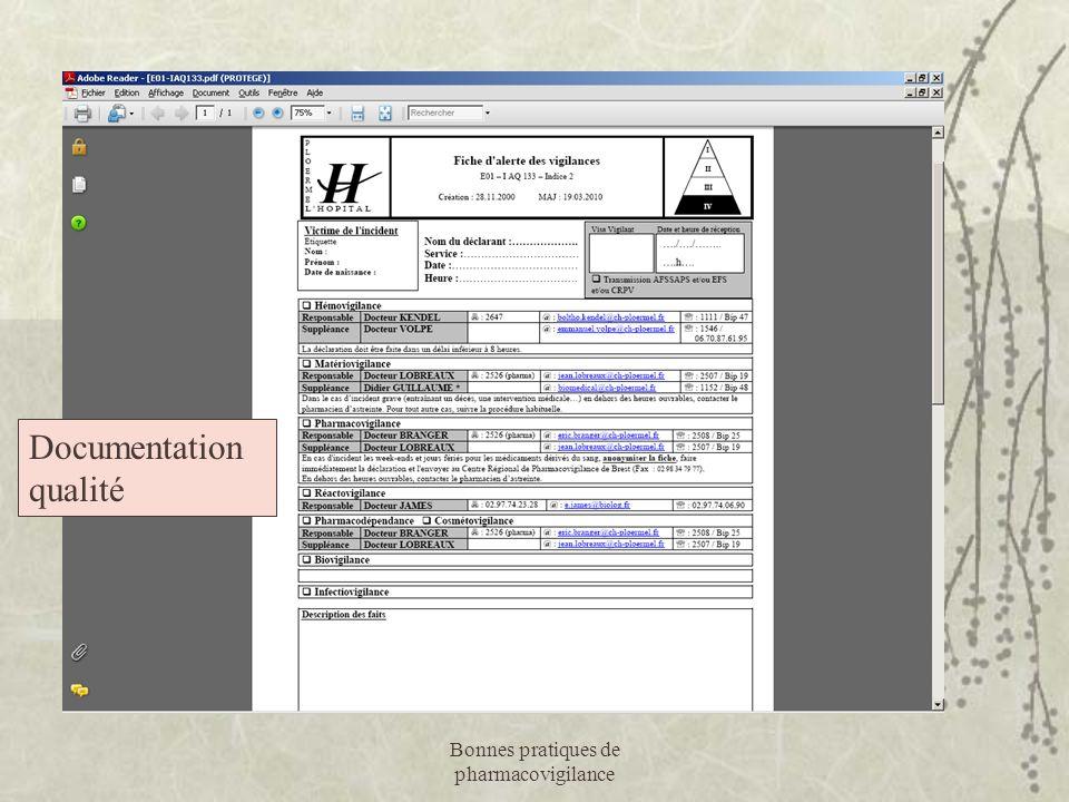 Bonnes pratiques de pharmacovigilance Documentation qualité