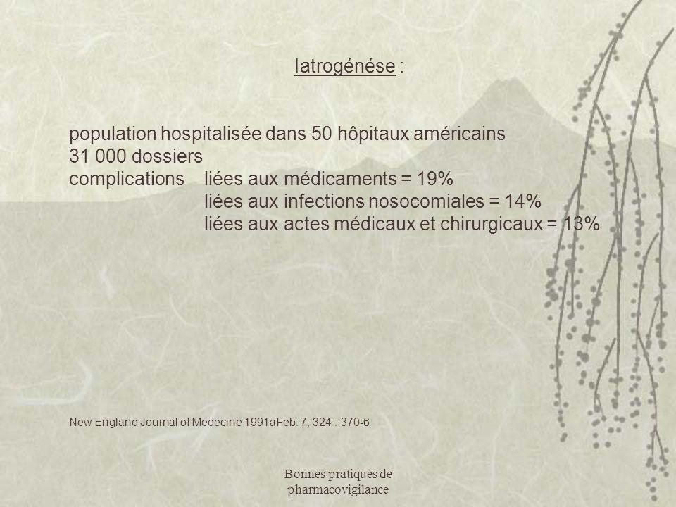 Bonnes pratiques de pharmacovigilance Iatrogénése : population hospitalisée dans 50 hôpitaux américains 31 000 dossiers complications liées aux médica