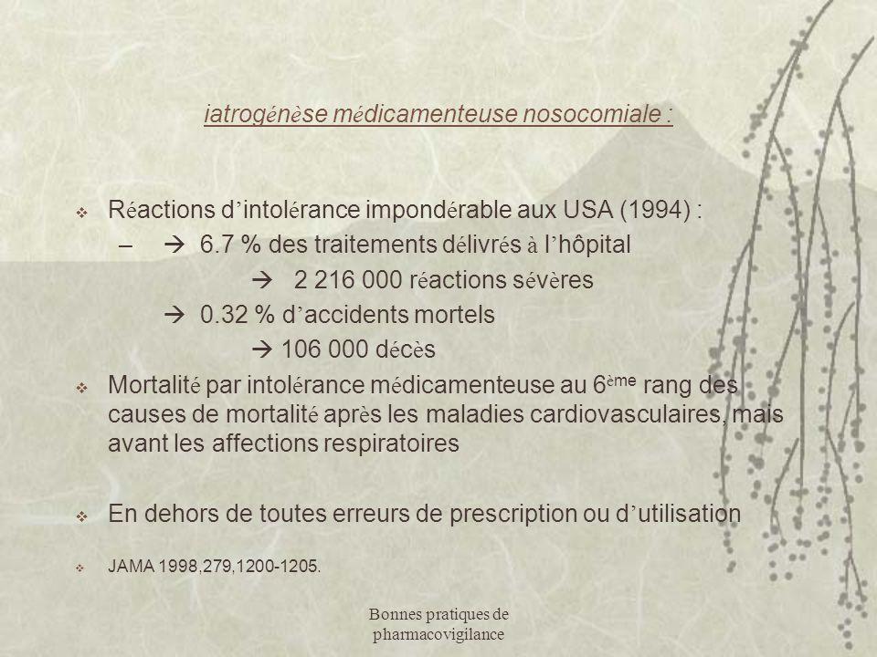 Bonnes pratiques de pharmacovigilance iatrog é n è se m é dicamenteuse nosocomiale :  R é actions d ' intol é rance impond é rable aux USA (1994) : –