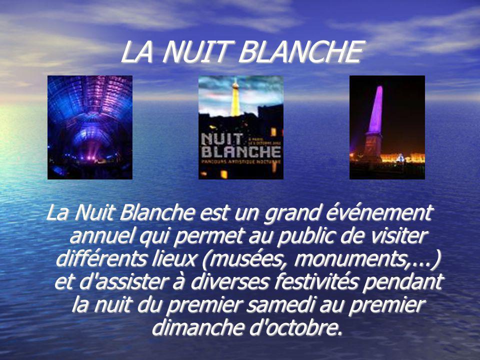 LA NUIT BLANCHE La Nuit Blanche est un grand événement annuel qui permet au public de visiter différents lieux (musées, monuments,...) et d assister à diverses festivités pendant la nuit du premier samedi au premier dimanche d octobre.