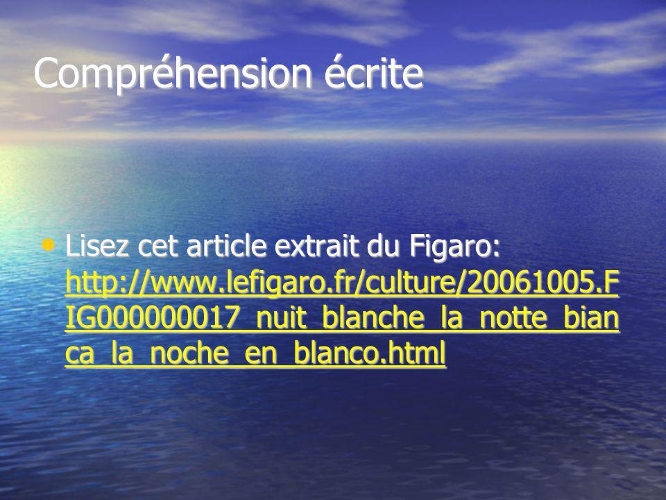 Compréhension écrite Lisez cet article extrait du Figaro: http://www.lefigaro.fr/culture/20061005.F IG000000017_nuit_blanche_la_notte_bian ca_la_noche