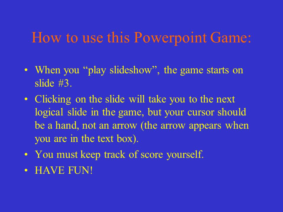 How to MODIFY this Powerpoint game.
