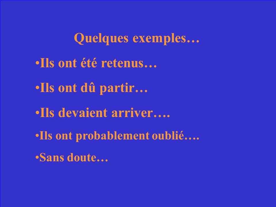 Une phrase complète – au passé – qui exprime la probabilité MAIS sans le mot probable .