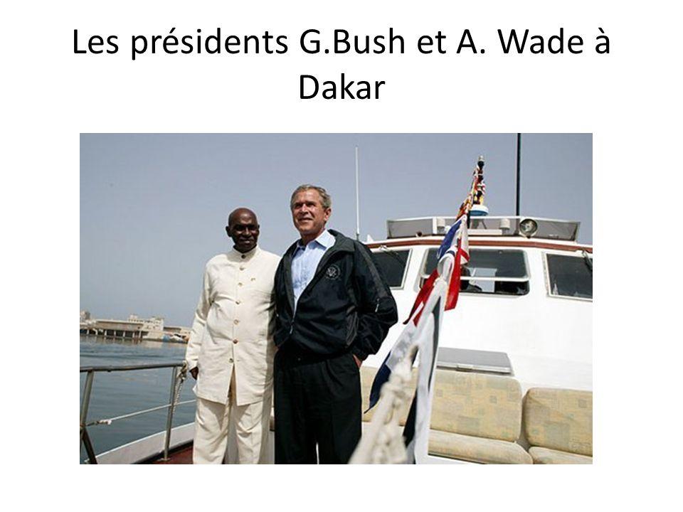 Les présidents G.Bush et A. Wade à Dakar