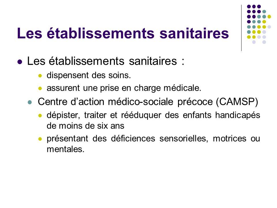 Les établissements sanitaires Les établissements sanitaires : dispensent des soins. assurent une prise en charge médicale. Centre d'action médico-soci