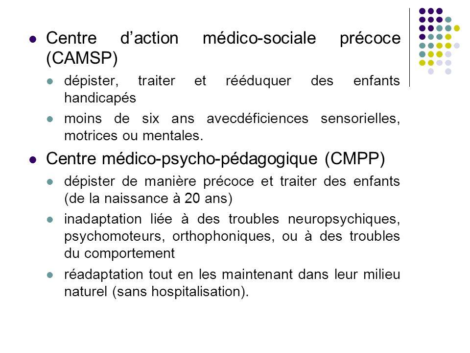 Centre d'action médico-sociale précoce (CAMSP) dépister, traiter et rééduquer des enfants handicapés moins de six ans avecdéficiences sensorielles, motrices ou mentales.
