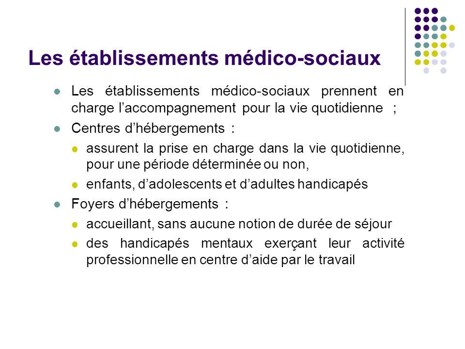 Les établissements médico-sociaux Les établissements médico-sociaux prennent en charge l'accompagnement pour la vie quotidienne ; Centres d'hébergemen