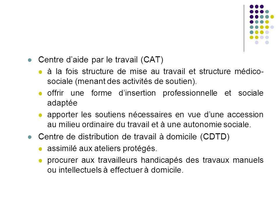 Centre d'aide par le travail (CAT) à la fois structure de mise au travail et structure médico- sociale (menant des activités de soutien). offrir une f
