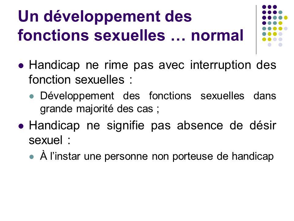 Un développement des fonctions sexuelles … normal Handicap ne rime pas avec interruption des fonction sexuelles : Développement des fonctions sexuelles dans grande majorité des cas ; Handicap ne signifie pas absence de désir sexuel : À l'instar une personne non porteuse de handicap