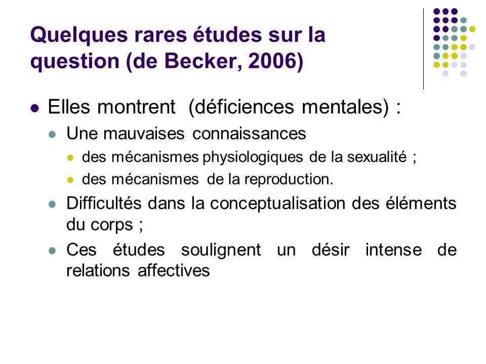 Quelques rares études sur la question (de Becker, 2006) Elles montrent (déficiences mentales) : Une mauvaises connaissances des mécanismes physiologiques de la sexualité ; des mécanismes de la reproduction.
