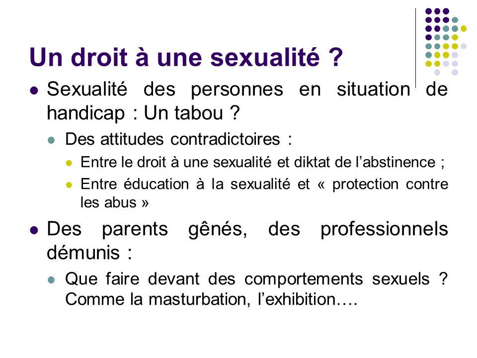 Un droit à une sexualité ? Sexualité des personnes en situation de handicap : Un tabou ? Des attitudes contradictoires : Entre le droit à une sexualit