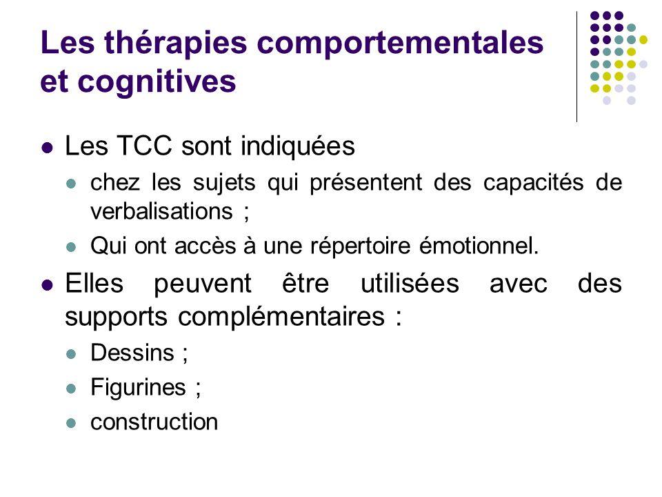 Les thérapies comportementales et cognitives Les TCC sont indiquées chez les sujets qui présentent des capacités de verbalisations ; Qui ont accès à une répertoire émotionnel.