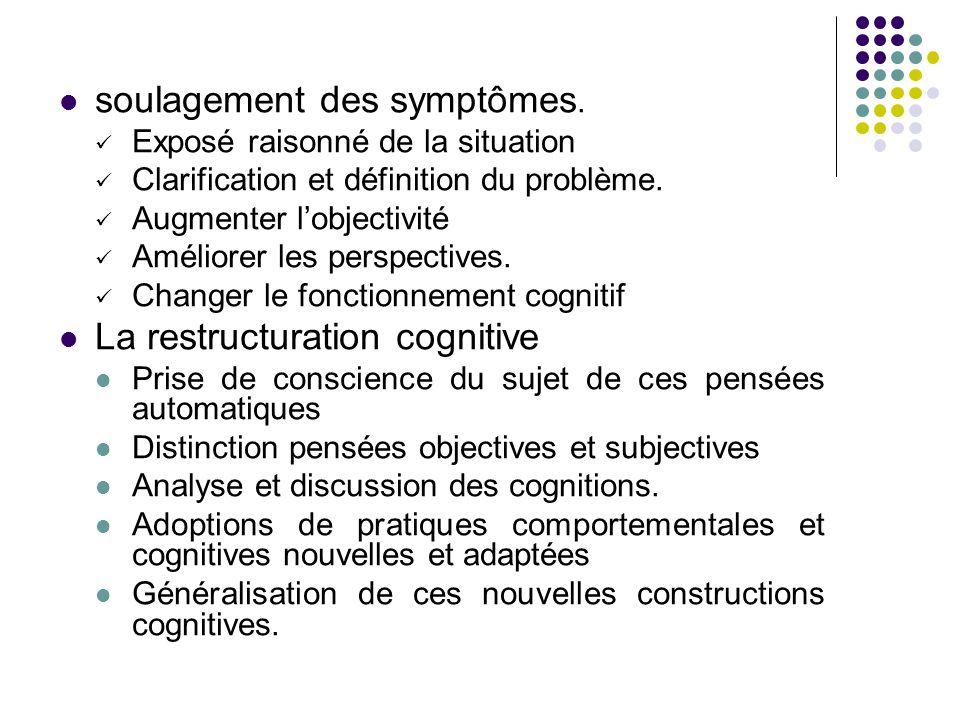 soulagement des symptômes. Exposé raisonné de la situation Clarification et définition du problème. Augmenter l'objectivité Améliorer les perspectives