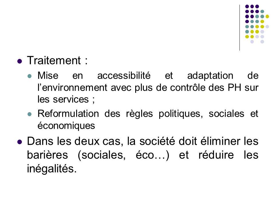 Traitement : Mise en accessibilité et adaptation de l'environnement avec plus de contrôle des PH sur les services ; Reformulation des règles politiques, sociales et économiques Dans les deux cas, la société doit éliminer les barières (sociales, éco…) et réduire les inégalités.