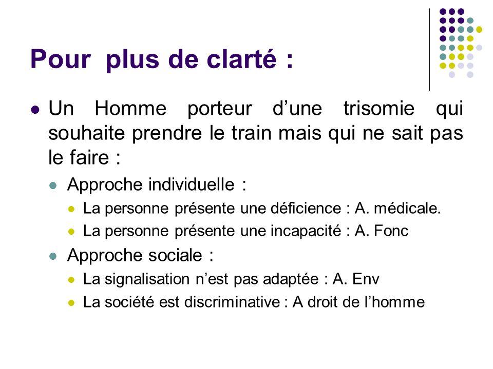 Pour plus de clarté : Un Homme porteur d'une trisomie qui souhaite prendre le train mais qui ne sait pas le faire : Approche individuelle : La personne présente une déficience : A.