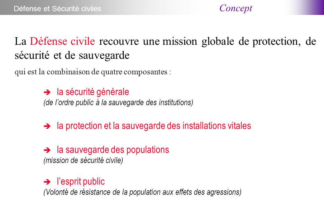 Concept Défense et Sécurité civiles La Défense civile recouvre une mission globale de protection, de sécurité et de sauvegarde qui est la combinaison