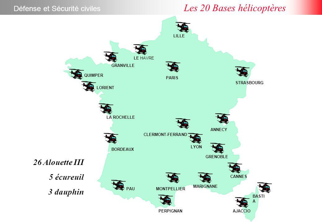 LILLE CLERMONT-FERRAND PARIS LE HAVRE GRANVILLE QUIMPER LORIENT LA ROCHELLE BORDEAUX PAU PERPIGNAN MONTPELLIER MARIGNANE AJACCIO BASTI A CANNES GRENOBLE ANNECY LYON STRASBOURG Défense et Sécurité civiles Les 20 Bases hélicoptères 26 Alouette III 5 écureuil 3 dauphin