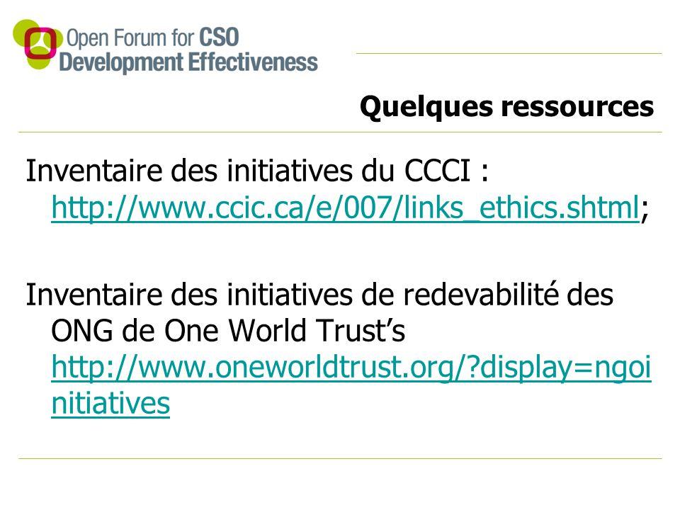 Quelques ressources Inventaire des initiatives du CCCI : http://www.ccic.ca/e/007/links_ethics.shtml; http://www.ccic.ca/e/007/links_ethics.shtml Inve
