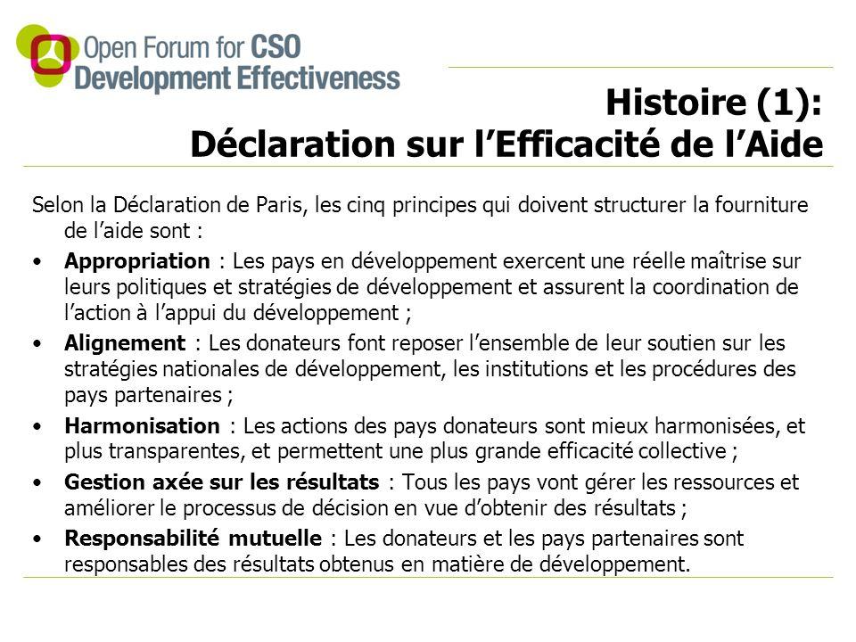 Histoire (1): Déclaration sur l'Efficacité de l'Aide Selon la Déclaration de Paris, les cinq principes qui doivent structurer la fourniture de l'aide sont : Appropriation : Les pays en développement exercent une réelle maîtrise sur leurs politiques et stratégies de développement et assurent la coordination de l'action à l'appui du développement ; Alignement : Les donateurs font reposer l'ensemble de leur soutien sur les stratégies nationales de développement, les institutions et les procédures des pays partenaires ; Harmonisation : Les actions des pays donateurs sont mieux harmonisées, et plus transparentes, et permettent une plus grande efficacité collective ; Gestion axée sur les résultats : Tous les pays vont gérer les ressources et améliorer le processus de décision en vue d'obtenir des résultats ; Responsabilité mutuelle : Les donateurs et les pays partenaires sont responsables des résultats obtenus en matière de développement.