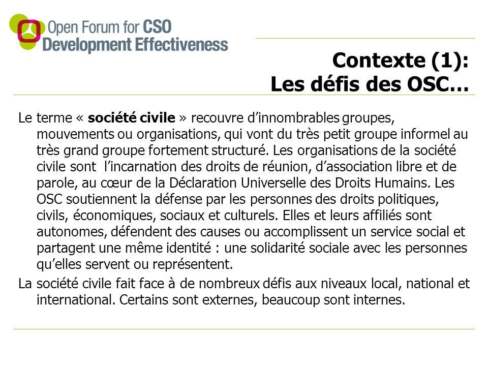 Contexte (1): Les défis des OSC… Le terme « société civile » recouvre d'innombrables groupes, mouvements ou organisations, qui vont du très petit groupe informel au très grand groupe fortement structuré.