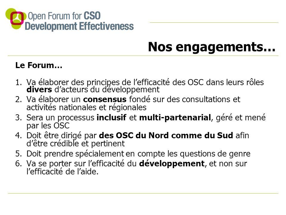Nos engagements… Le Forum… 1.Va élaborer des principes de l'efficacité des OSC dans leurs rôles divers d'acteurs du développement 2.Va élaborer un consensus fondé sur des consultations et activités nationales et régionales 3.Sera un processus inclusif et multi-partenarial, géré et mené par les OSC 4.Doit être dirigé par des OSC du Nord comme du Sud afin d'être crédible et pertinent 5.Doit prendre spécialement en compte les questions de genre 6.Va se porter sur l'efficacité du développement, et non sur l'efficacité de l'aide.
