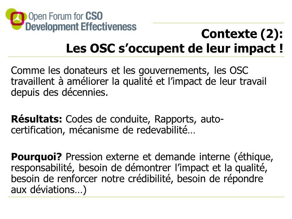 Contexte (2): Les OSC s'occupent de leur impact .