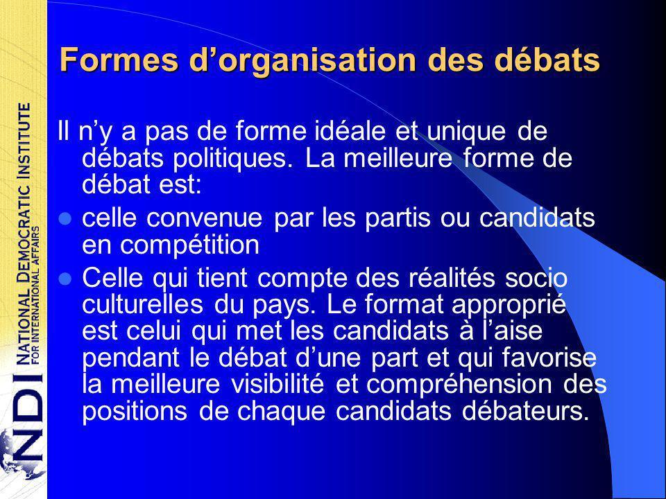 Formes d'organisation des débats Il n'y a pas de forme idéale et unique de débats politiques.