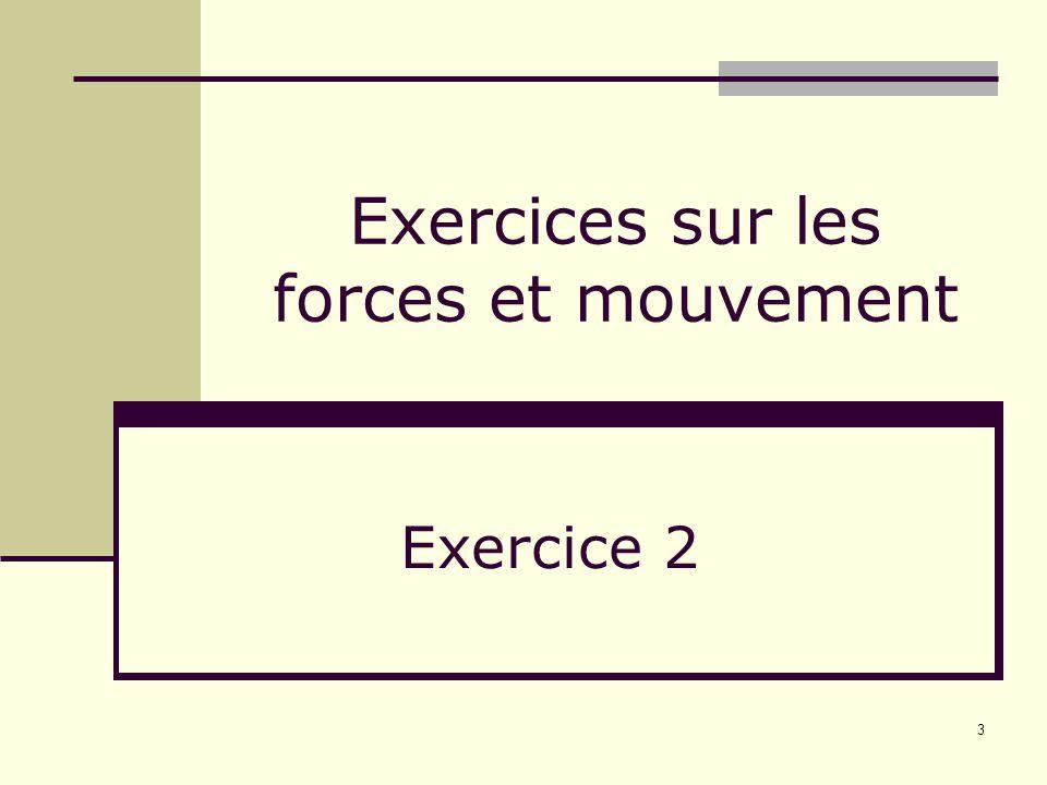 3 Exercices sur les forces et mouvement Exercice 2