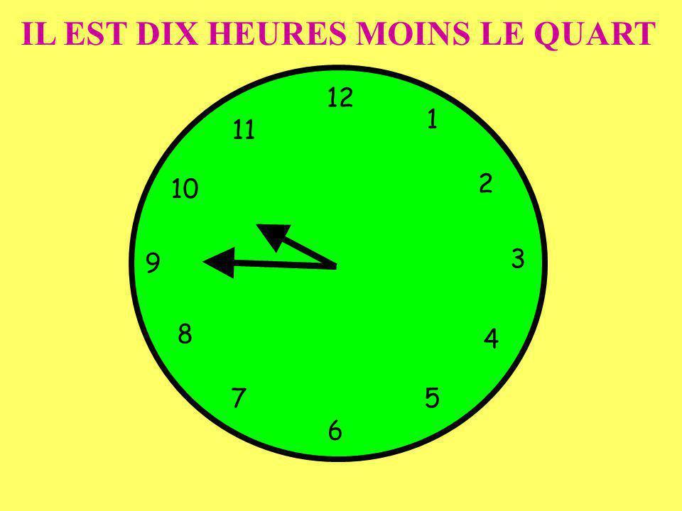 IL EST DIX HEURES MOINS LE QUART 12 1 5 4 9 3 6 10 11 2 7 8