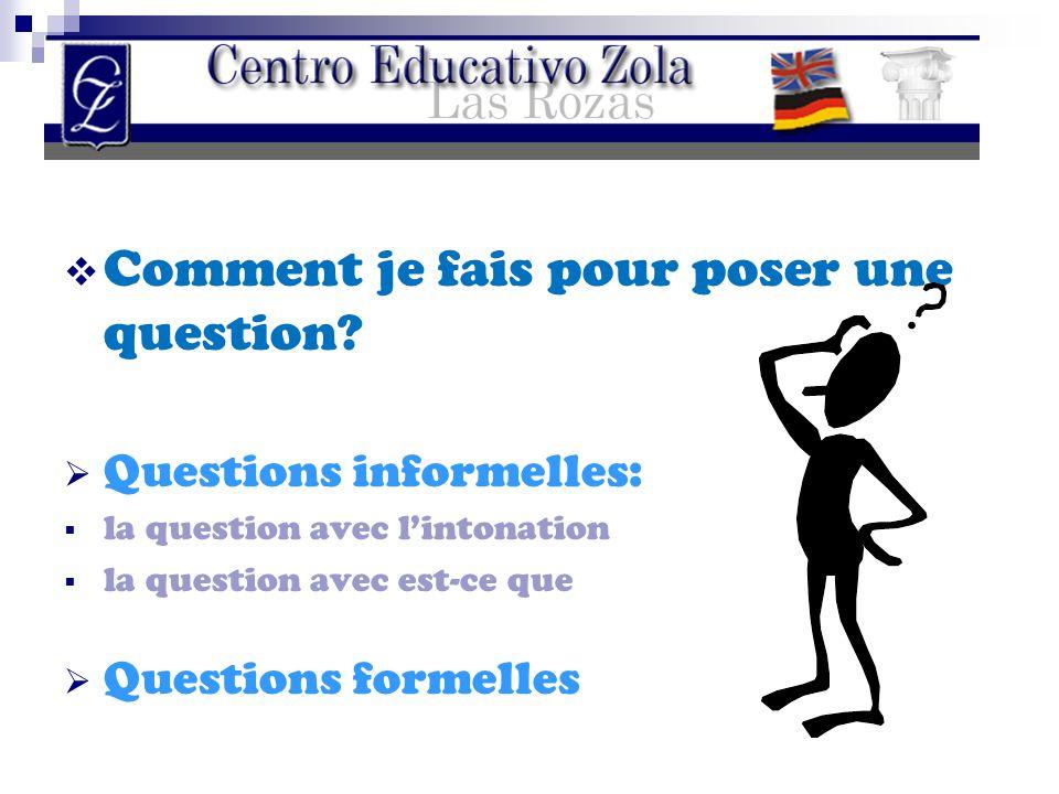 CComment je fais pour poser une question? QQuestions informelles: lla question avec l'intonation lla question avec est-ce que QQuestions for