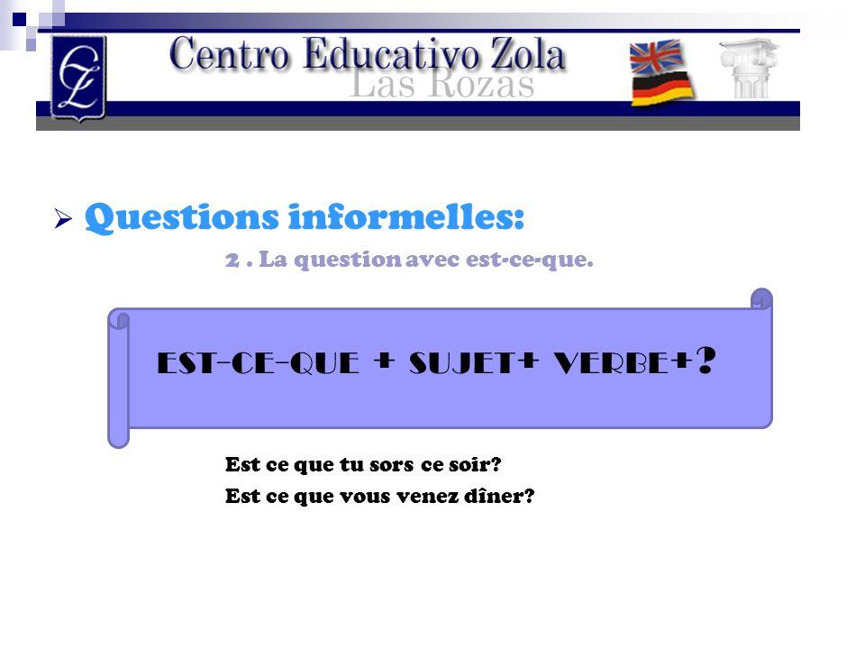 QQuestions informelles: 2. La question avec est-ce-que. Est ce que tu sors ce soir? Est ce que vous venez dîner? EST - CE - QUE + SUJET + VERBE +?
