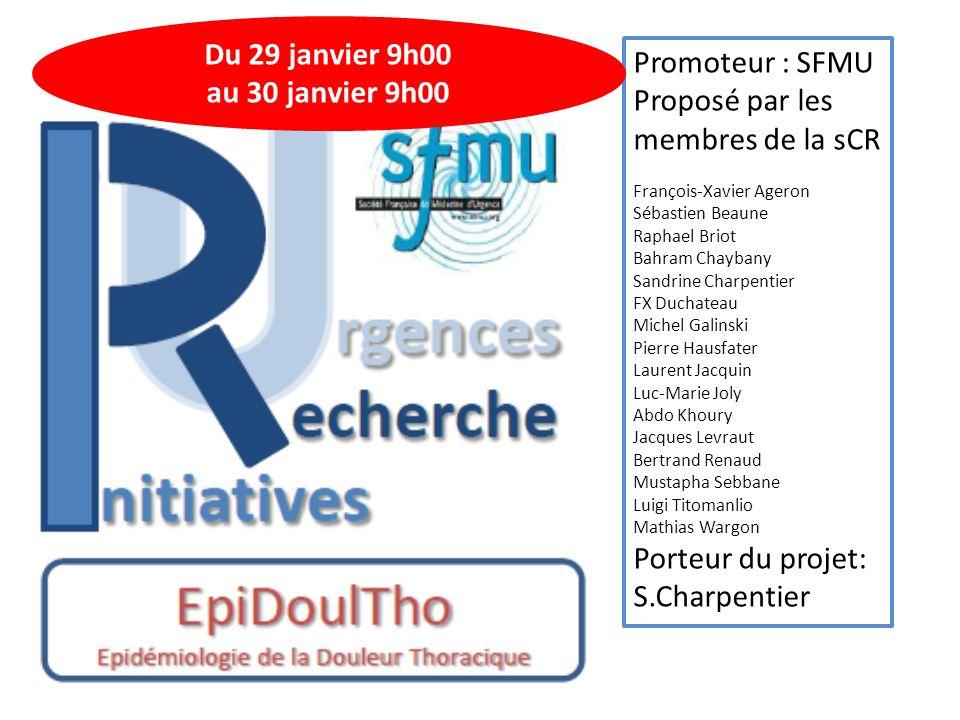 Promoteur : SFMU Proposé par les membres de la sCR François-Xavier Ageron Sébastien Beaune Raphael Briot Bahram Chaybany Sandrine Charpentier FX Ducha