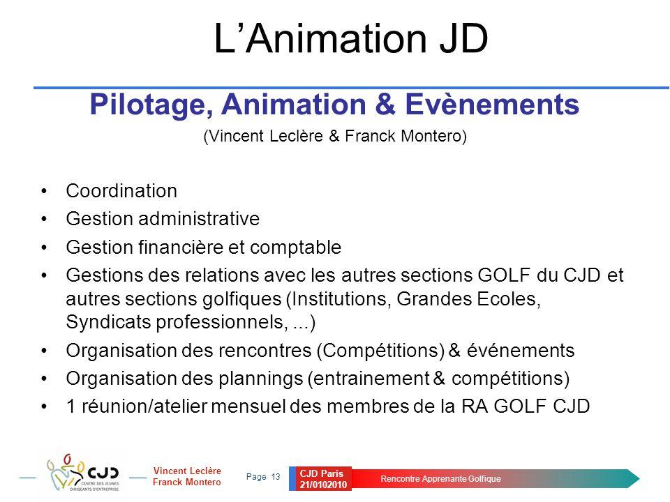 CJD Paris 21/0102010 Rencontre Apprenante Golfique Page 13 Vincent Leclère Franck Montero L'Animation JD Pilotage, Animation & Evènements (Vincent Lec