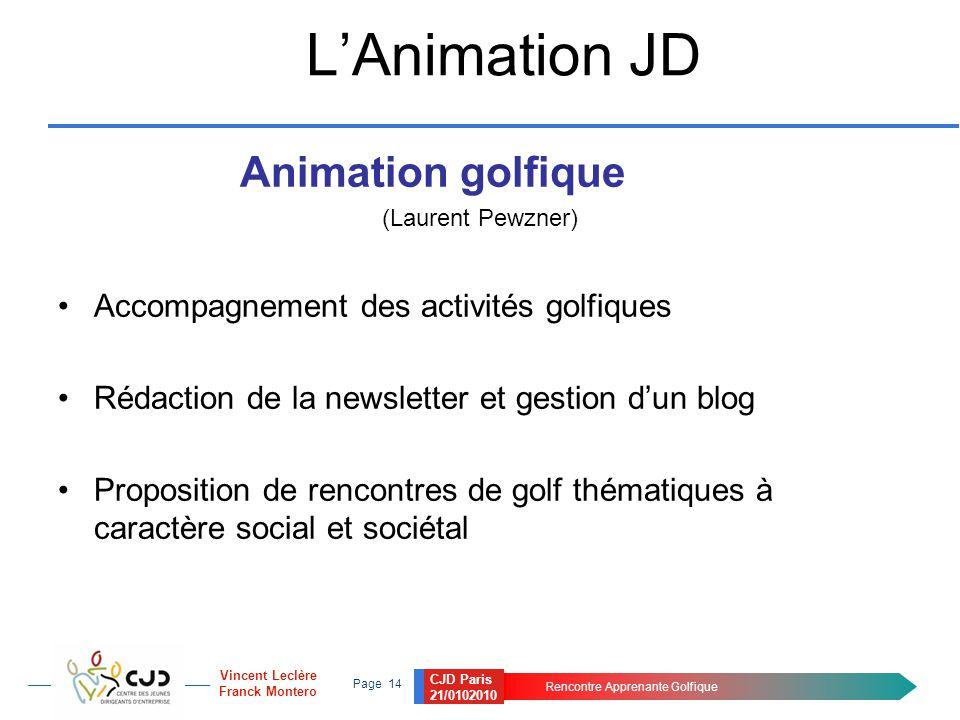 CJD Paris 21/0102010 Rencontre Apprenante Golfique Page 14 Vincent Leclère Franck Montero L'Animation JD Animation golfique (Laurent Pewzner) Accompag