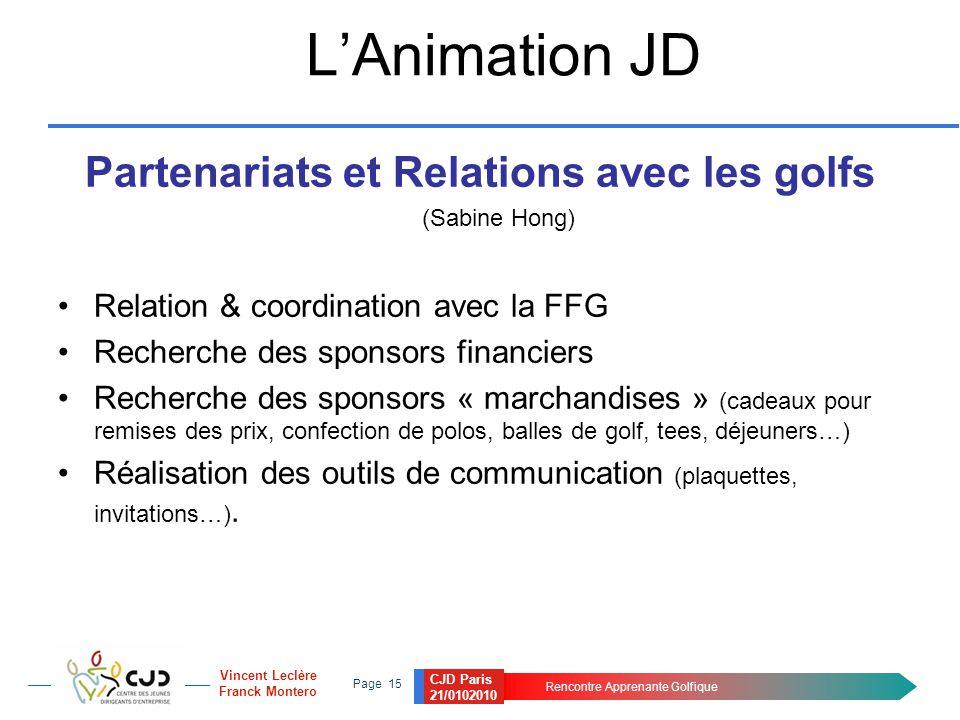 CJD Paris 21/0102010 Rencontre Apprenante Golfique Page 15 Vincent Leclère Franck Montero L'Animation JD Partenariats et Relations avec les golfs (Sab