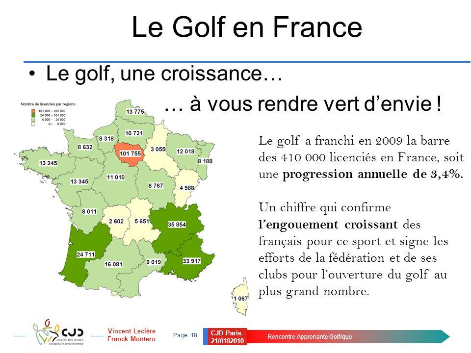 CJD Paris 21/0102010 Rencontre Apprenante Golfique Page 18 Vincent Leclère Franck Montero Le Golf en France Le golf, une croissance… … à vous rendre v