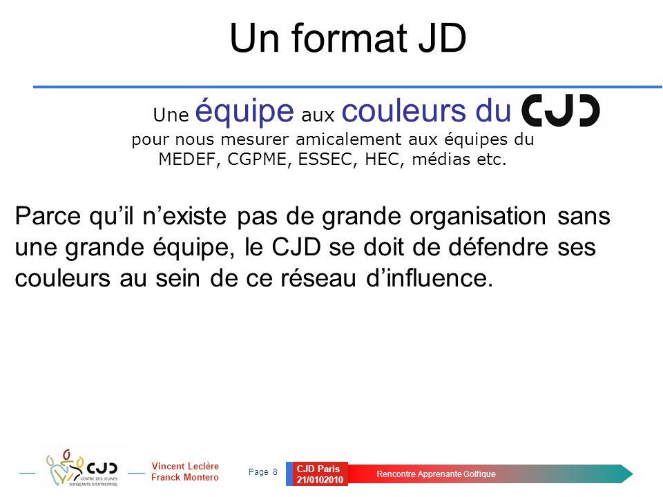CJD Paris 21/0102010 Rencontre Apprenante Golfique Page 8 Vincent Leclère Franck Montero Un format JD Une équipe aux couleurs du pour nous mesurer ami