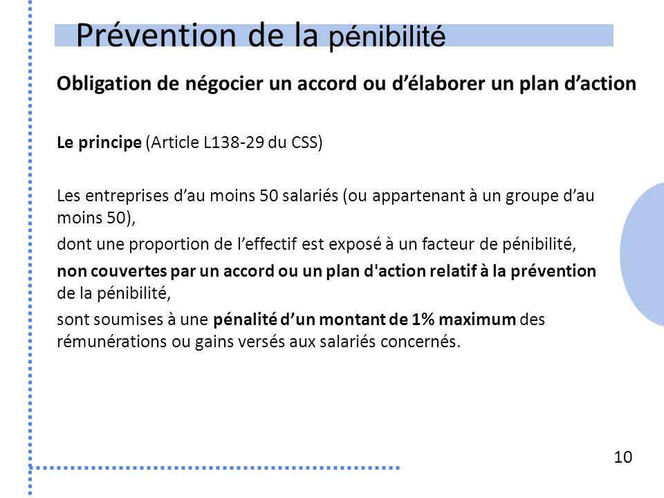 Prévention de la pénibilité Obligation de négocier un accord ou d'élaborer un plan d'action 10 Le principe (Article L138-29 du CSS) Les entreprises d'