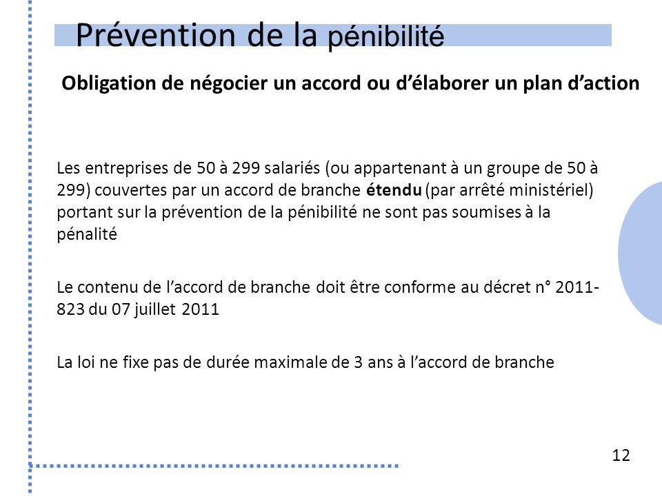 Prévention de la pénibilité Obligation de négocier un accord ou d'élaborer un plan d'action 12 Les entreprises de 50 à 299 salariés (ou appartenant à