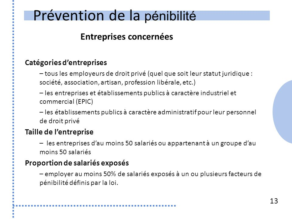 Prévention de la pénibilité 13 Catégories d'entreprises – tous les employeurs de droit privé (quel que soit leur statut juridique : société, associati
