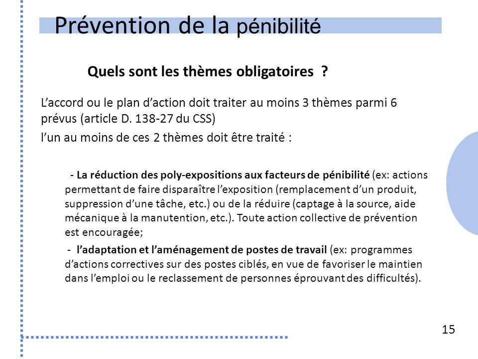 Prévention de la pénibilité 15 L'accord ou le plan d'action doit traiter au moins 3 thèmes parmi 6 prévus (article D. 138-27 du CSS) l'un au moins de