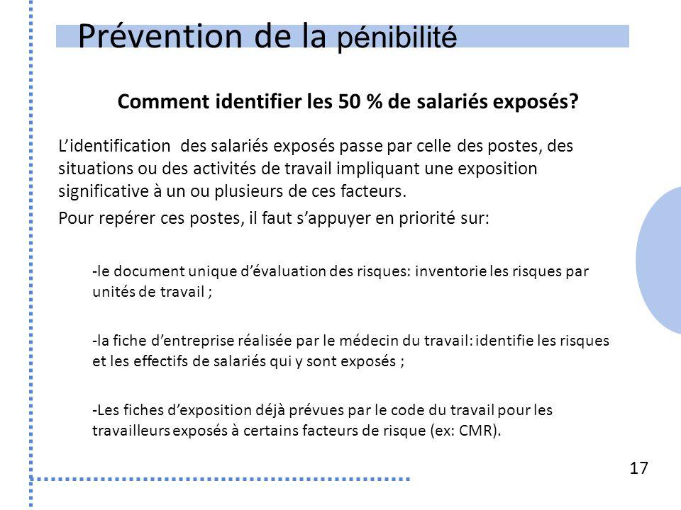 Prévention de la pénibilité 17 L'identification des salariés exposés passe par celle des postes, des situations ou des activités de travail impliquant