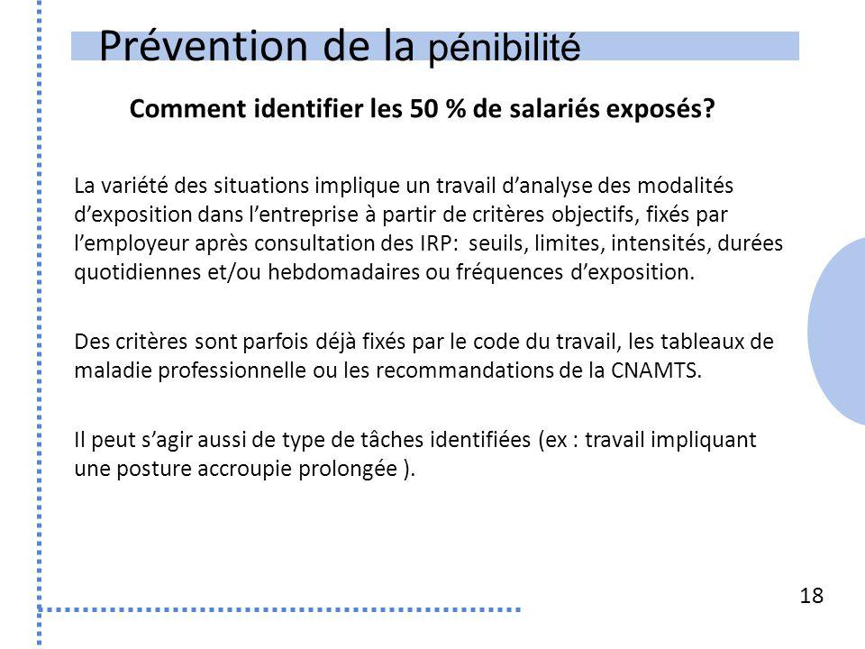 Prévention de la pénibilité 18 La variété des situations implique un travail d'analyse des modalités d'exposition dans l'entreprise à partir de critèr