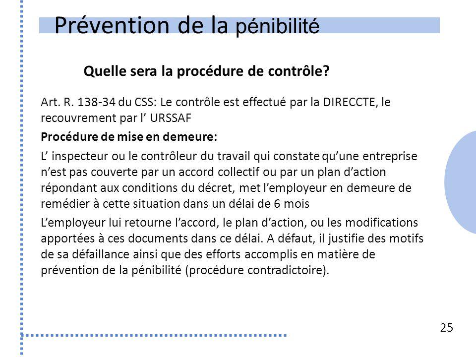 Prévention de la pénibilité 25 Art. R. 138-34 du CSS: Le contrôle est effectué par la DIRECCTE, le recouvrement par l' URSSAF Procédure de mise en dem