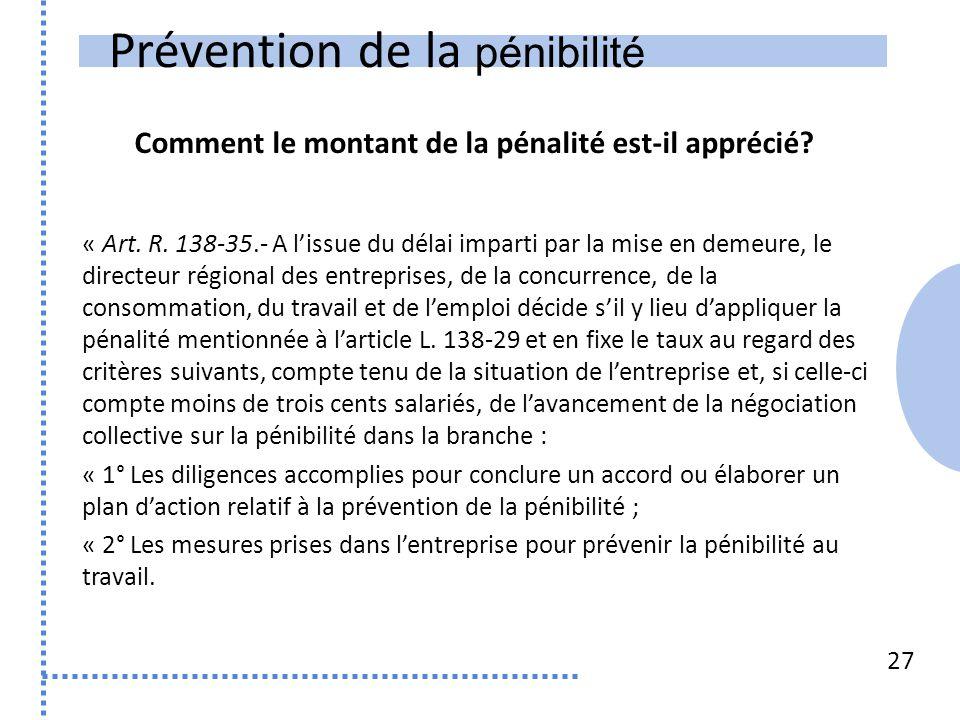 Prévention de la pénibilité 27 « Art. R. 138-35.- A l'issue du délai imparti par la mise en demeure, le directeur régional des entreprises, de la conc